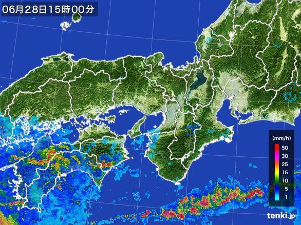 近畿地方の雨雲レーダー(2016年06月28日)