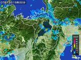 2016年07月13日の滋賀県の雨雲レーダー
