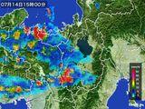2016年07月14日の滋賀県の雨雲レーダー