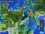 2016年07月26日の滋賀県の雨雲レーダー