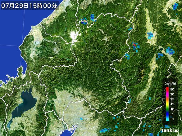 岐阜県の雨雲レーダー(2016年07月29日)