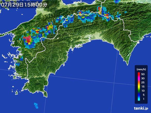 高知県の雨雲レーダー(2016年07月29日)