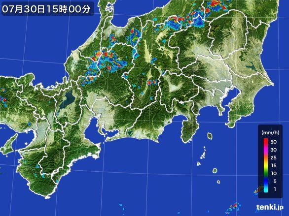 東海地方の雨雲レーダー(2016年07月30日)