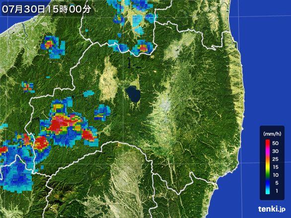 福島県の雨雲レーダー(2016年07月30日)