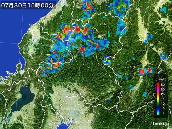 岐阜県の雨雲レーダー(2016年07月30日)