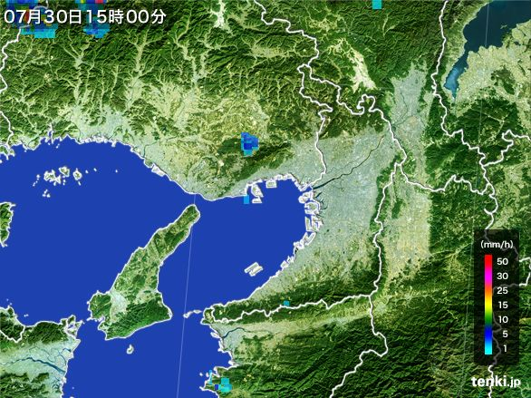 大阪府の雨雲レーダー(2016年07月30日)