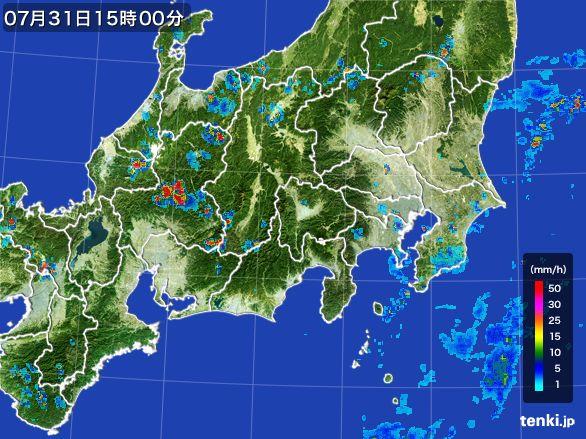 関東・甲信地方の雨雲レーダー(2016年07月31日)