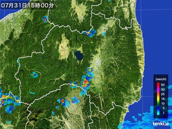 福島県の雨雲レーダー(2016年07月31日)