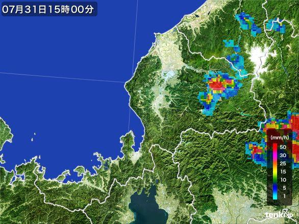 福井県の雨雲レーダー(2016年07月31日)