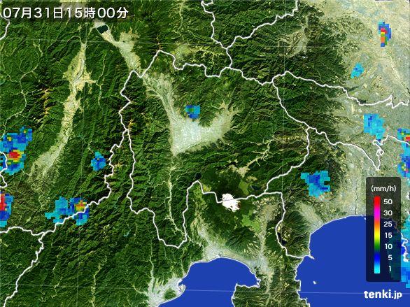 山梨県の雨雲レーダー(2016年07月31日)