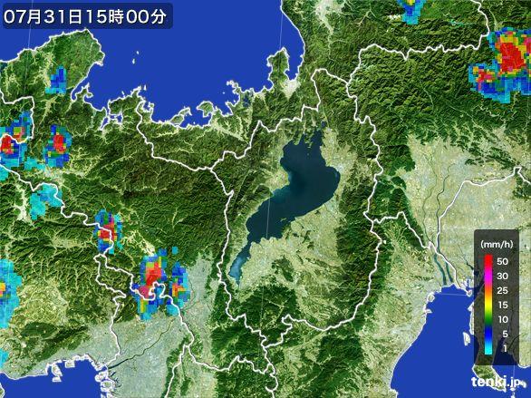 滋賀県の雨雲レーダー(2016年07月31日)