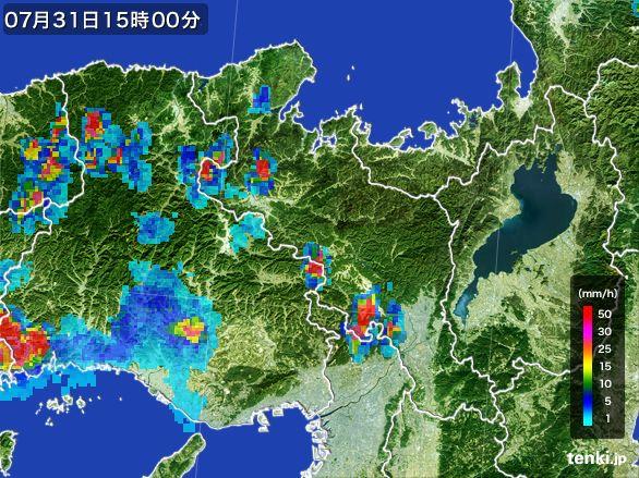 京都府の雨雲レーダー(2016年07月31日)