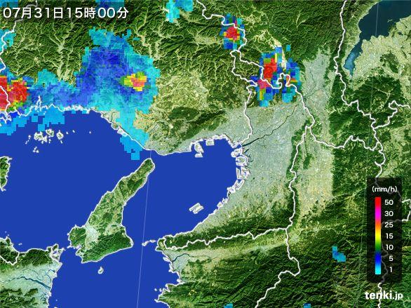 大阪府の雨雲レーダー(2016年07月31日)