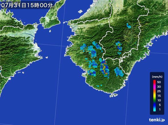 和歌山県の雨雲レーダー(2016年07月31日)