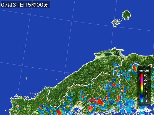 島根県の雨雲レーダー(2016年07月31日)