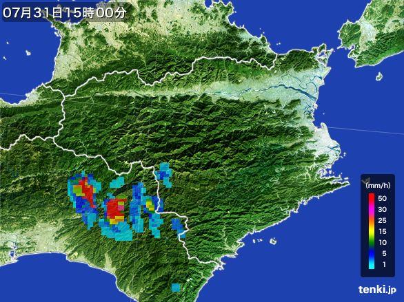 徳島県の雨雲レーダー(2016年07月31日)