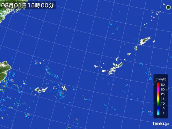 沖縄地方の雨雲レーダー(2016年08月01日)
