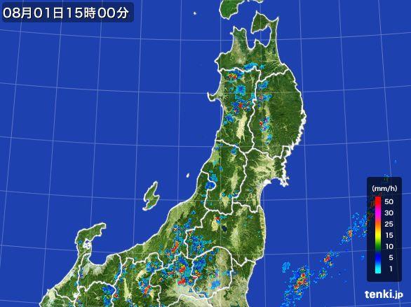 東北地方の雨雲レーダー(2016年08月01日)