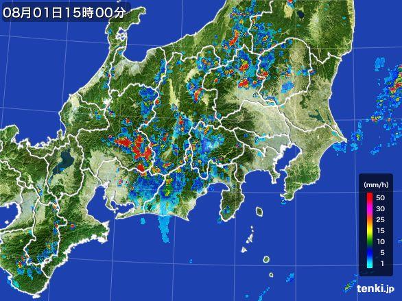 関東・甲信地方の雨雲レーダー(2016年08月01日)