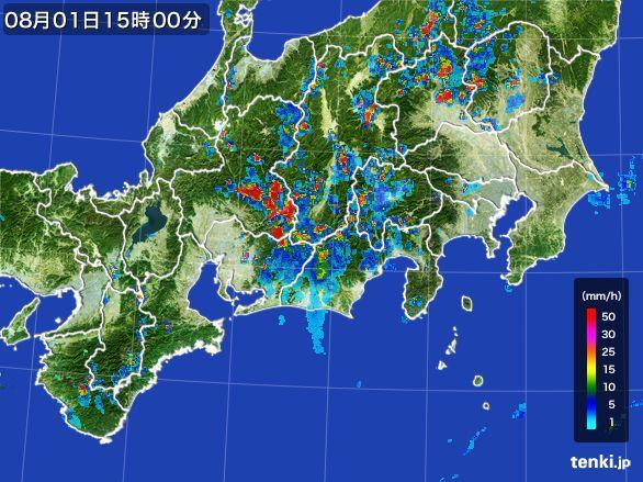 東海地方の雨雲レーダー(2016年08月01日)