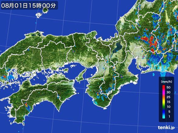 近畿地方の雨雲レーダー(2016年08月01日)