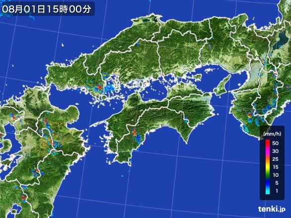四国地方の雨雲レーダー(2016年08月01日)