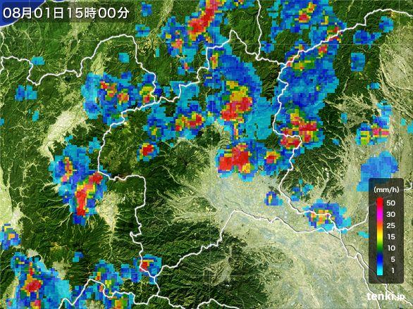 群馬県の雨雲レーダー(2016年08月01日)