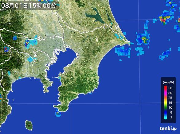 千葉県の雨雲レーダー(2016年08月01日)