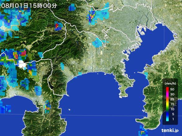 神奈川県の雨雲レーダー(2016年08月01日)