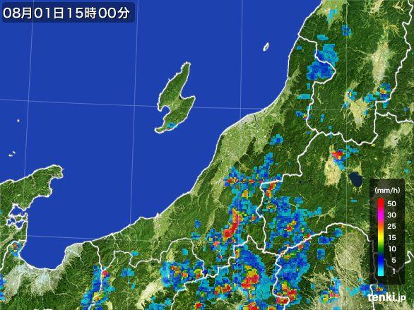 新潟県の雨雲レーダー(2016年08月01日)