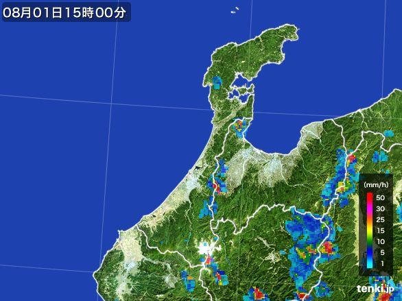 石川県の雨雲レーダー(2016年08月01日)
