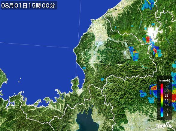 福井県の雨雲レーダー(2016年08月01日)
