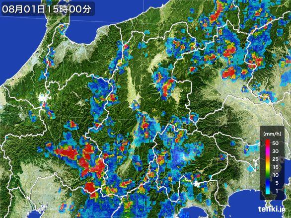 長野県の雨雲レーダー(2016年08月01日)