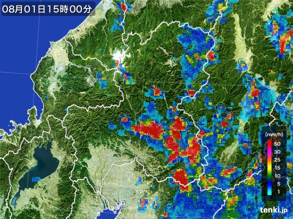 岐阜県の雨雲レーダー(2016年08月01日)