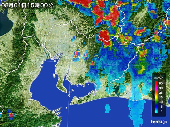 愛知県の雨雲レーダー(2016年08月01日)