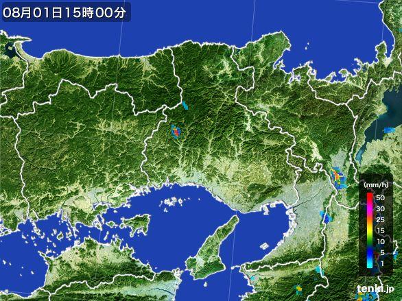 兵庫県の雨雲レーダー(2016年08月01日)
