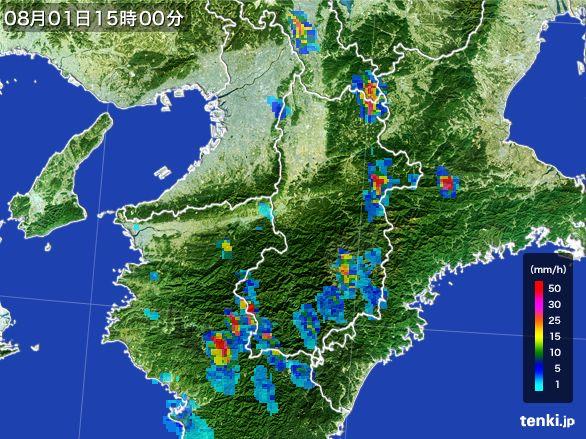 奈良県の雨雲レーダー(2016年08月01日)