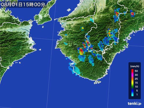 和歌山県の雨雲レーダー(2016年08月01日)