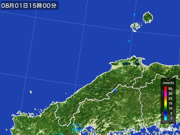 島根県の雨雲レーダー(2016年08月01日)