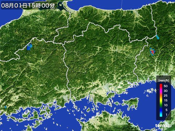 岡山県の雨雲レーダー(2016年08月01日)