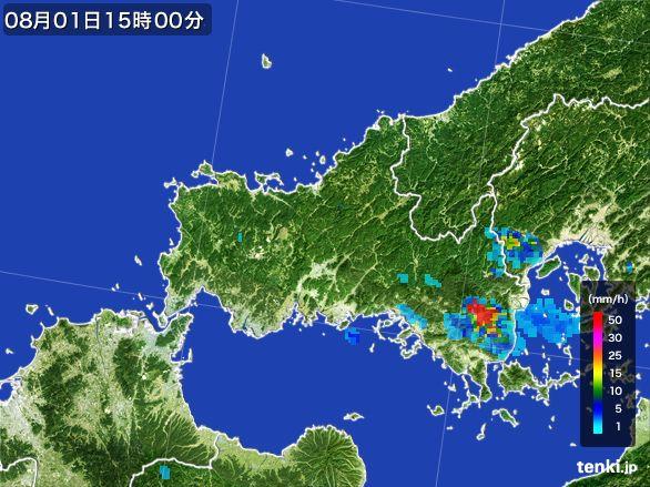 山口県の雨雲レーダー(2016年08月01日)