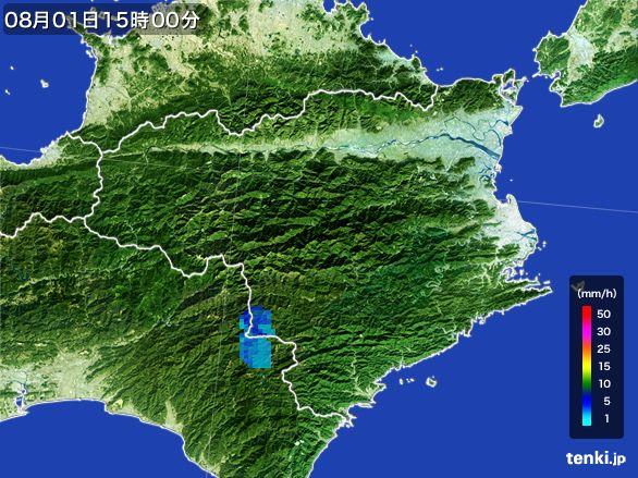 徳島県の雨雲レーダー(2016年08月01日)
