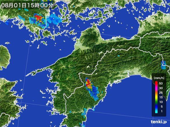 愛媛県の雨雲レーダー(2016年08月01日)