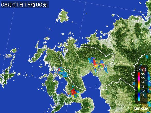 佐賀県の雨雲レーダー(2016年08月01日)
