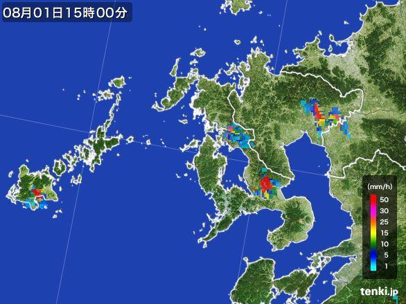 長崎県の雨雲レーダー(2016年08月01日)