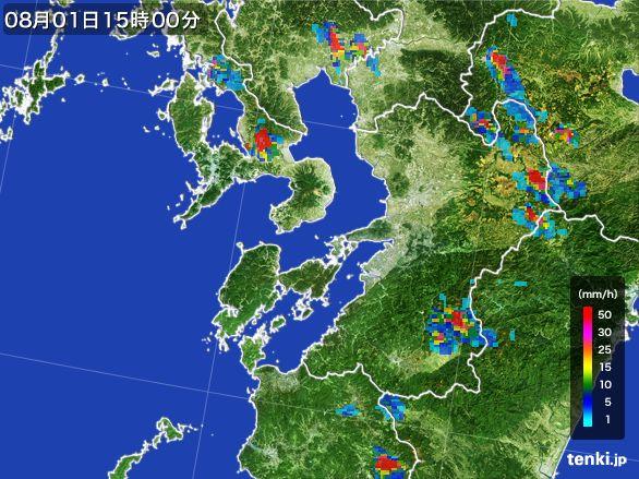 熊本県の雨雲レーダー(2016年08月01日)