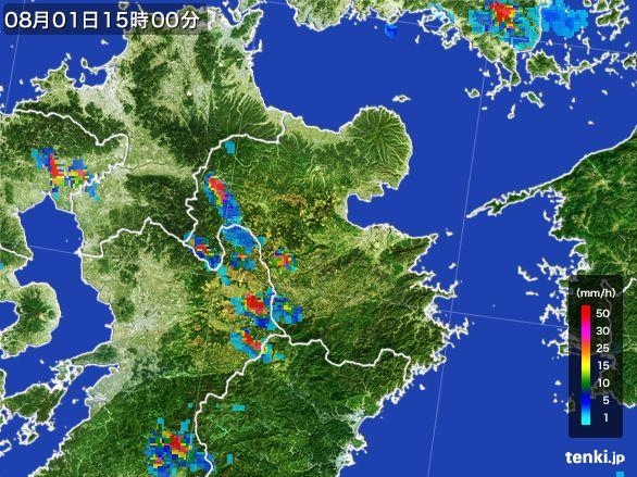 大分県の雨雲レーダー(2016年08月01日)