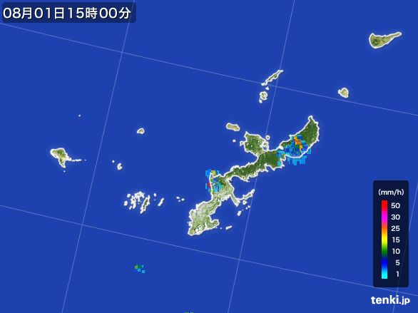 沖縄県の雨雲レーダー(2016年08月01日)