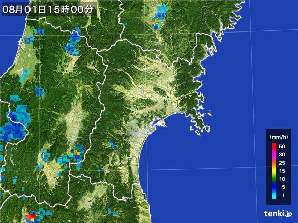 宮城県の雨雲レーダー(2016年08月01日)