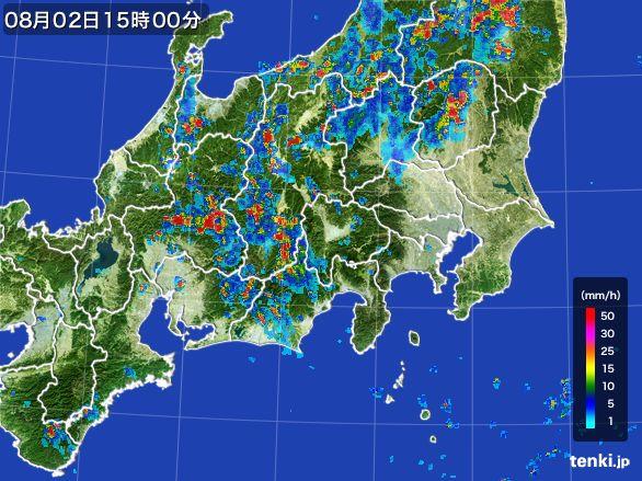 関東・甲信地方の雨雲レーダー(2016年08月02日)